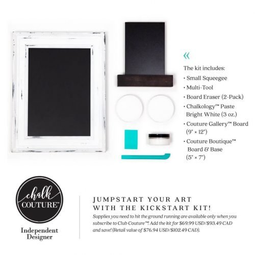"club couture kickstart kit includes a small squeegee, multi tool, 2 pack of board erasers, chalkology paste in bright white, couture gallery board 9"" x 12"" and a boutique board & base 5"" x 7"""